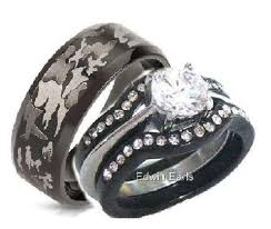 camo wedding ring sets for him and his hers 4 cz black stainless steel black camouflage