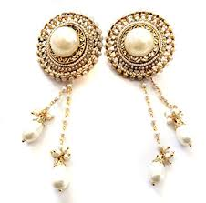 Bridal Chandelier Earrings Amazon Com Pearl Kashmiri Earrings Gold Chandelier Earrings