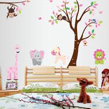 nursery pink colourful animals large uk wall sticker