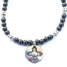 zia sun symbol and hematite necklace southwest handmade jewelry