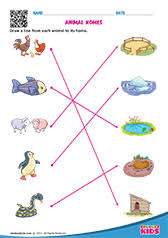 science match the animals worksheets for kids