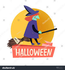 flying witch halloween happy halloween icon flat icon witch stock vector 217135111