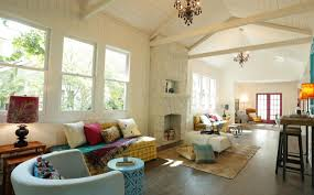 Vaulted Ceiling Living Room Design by Masters Of Flip Vaulted Ceilings And Painted Brick Home