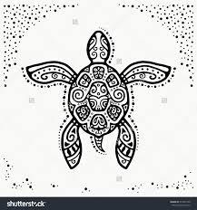 decorative graphic turtle style tribal totem animal