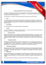 Travel Expense Reports by Printable Travel And Expense Policy And Procedure Template