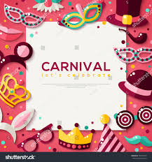 halloween carnival background white square frame carnival masks objects stock vector 507326470