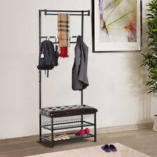 Coat Tree With Bench Corner Shoe Racks For Entryway Hall Tree Storage Bench With Coat