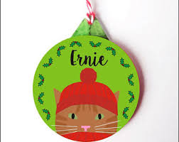 cat ornament etsy