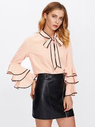 blouses with bows at neck bow neck wave lace trim layered sleeve blouse shein sheinside