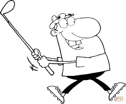 happy golfer coloring page free printable coloring pages