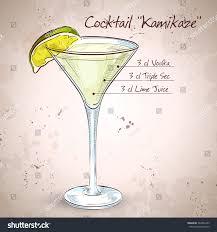 liqueur martini kamikaze alcohol cocktail consisting vodka orange stock vector