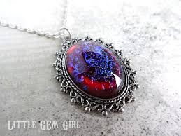 red gem necklace images Mexican opal dragons breath fire glass amulet pendant jpg