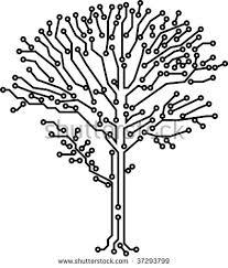 oak tree stylized electronic circuit on stock vector 322959908