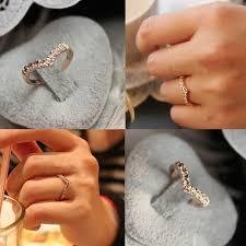 v shaped ring 2016fashion v shaped unique design inlaid imitation diamond pinkie