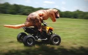 what is a motocross bike t rex riding a dirt bike and four wheeler youtube