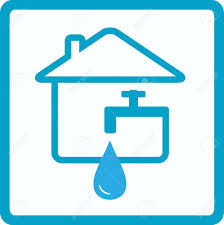 drop of water in house with silhouette of faucet royalty free