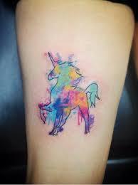 unicorn watercolor tattoo on thigh tattoo com