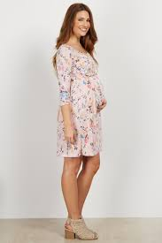what to wear with a light pink dress light pink floral 3 4 sleeve maternity dress