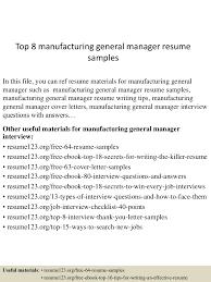 Resume For Manufacturing Job Sample Resume General Manager Manufacturing Templates