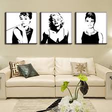 marilyn monroe wall art shenra com aliexpress com buy 3 pcs vintage poster portrait oil painting