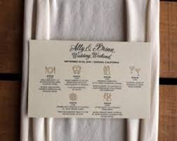 itinerary cards sided wedding timeline cards