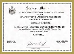 Interior Designer License by Maine The Hopkins Company Architects