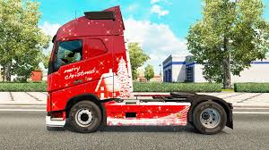 red volvo truck christmas skin for volvo truck for euro truck simulator 2