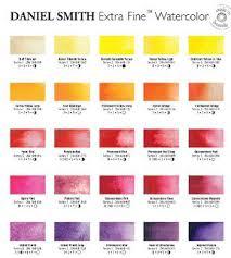 daniel smith watercolour printed colour chart watercolors