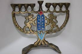vintage menorah vintage hanukkah brass bronze menorah israel holy land hen