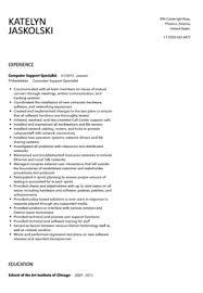 It Specialist Resume Sample by Computer Support Specialist Resume Sample Velvet Jobs