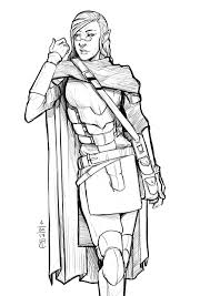 art half elf warlock sketch request dnd