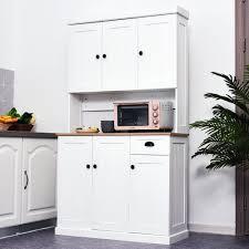 homcom kitchen pantry cupboard wooden storage cabinet organizer shelf white our best storage organization deals kitchen pantry