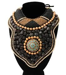 collar bib necklace images Black and gold bead with stones raised collar bib necklace jpg