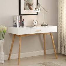 white wood desk with drawers modern mid century style writing desk console table drawer wood
