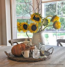 farmhouse kitchen table centerpiece fall french farmhouse decorating sunflowers bittersweet pumpkins 1