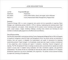 Job Desk Project Manager Program Manager Job Description Template U2013 10 Free Word Pdf