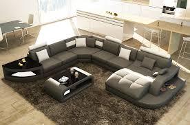 canapé d angle en cuir italien 8 places nordik gris foncé et blanc