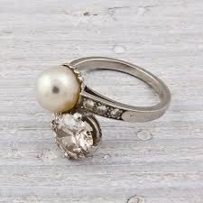 pearl and diamond engagement rings pearl and diamond vintage engagement ring