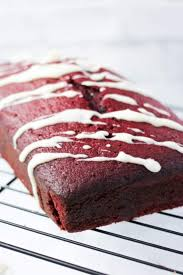 red velvet tea cake with cream cheese drizzle sugar spice and