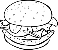 free clipart of chicken burger bw