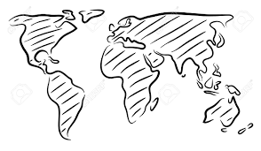 world map stock image editable vector outline sketch of a world map royalty free