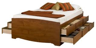 prepac cherry 12 drawers tall platform storage bed transitional