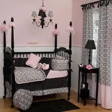 Pink And Brown Damask Crib Bedding Pink Black White Damask Baby Crib Bedding Comforter Set Ebay