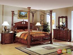 Canopy Bedroom Sets by Fun Romeo King Poster Canopy Bed Piece Bedroom Set Cherry Finish W