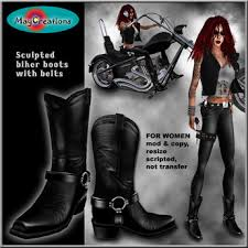 womens leather biker boots sale second marketplace maycreations biker boots w belts for