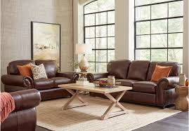 Leather Sofa In Living Room Balencia Brown Leather Sofa 5 Pc Rooms To Go Living Room