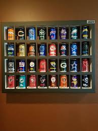 pint glass display cabinet nfl beer can display case