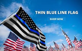 Blue And White Flag Cross Thin Blue Line Usa Law Enforcement Products