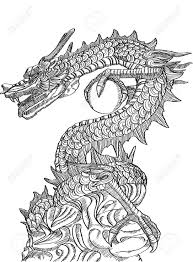 tribal chinese dragon tattoos chinese style dragon statue line sketch up royalty free cliparts