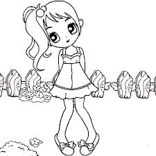 Coloriage petite fille en Ligne Gratuit à imprimer